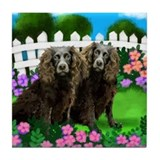 BOYKIN SPANIEL DOGS GARDEN Tile Coaster