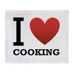 I Love Cooking Throw Blanket