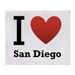 I Love San Diego Throw Blanket