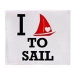 I Love to Sail Throw Blanket
