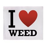 I Love Weed Throw Blanket