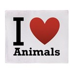I Love Animals Throw Blanket