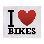 I Love Bikes Throw Blanket