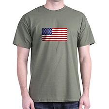 American Flag Military Green T-Shirt