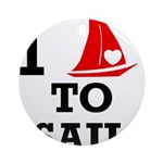 I Love to Sail Ornament (Round)