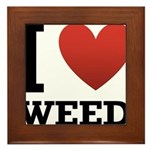 I Love Weed Framed Tile