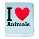 I Love Animals baby blanket