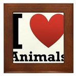I Love Animals Framed Tile