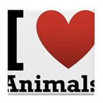 I Love Animals Tile Coaster