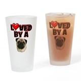 Loved by a Pug Drinking Glass