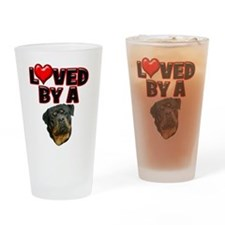 Loved by a Rottweiler 2 Drinking Glass