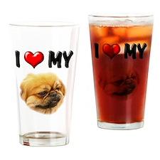 I Love My Pekingese Drinking Glass