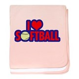 I Love Softball baby blanket