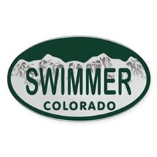 Swimmer Colo License Plate Decal