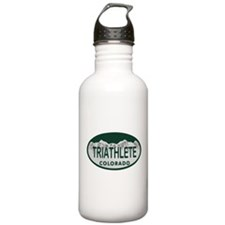 Triathlete Oval Colo License Plate Water Bottle