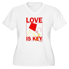 LOVE IS KEY Women's Plus Size V-Neck T-Shirt