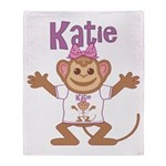 Little Monkey Katie Throw Blanket