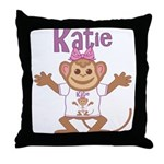 Little Monkey Katie Throw Pillow