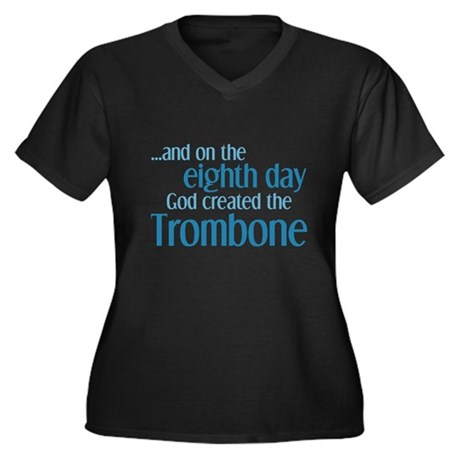 Trombone Creation Women's Plus Size V-Neck Dark T-