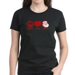 Peace Love Santa Women's Dark T-Shirt