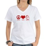 Peace Love Santa Women's V-Neck T-Shirt