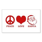 Peace Love Santa Sticker (Rectangle)