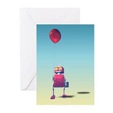 Little Red Birthday Robot 3 Greeting Cards (Pk of