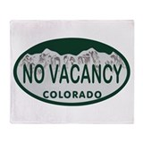 No Vacancy Colo License Plate Throw Blanket