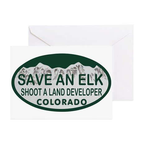 Save an Elk Colo License Plate Greeting Cards (Pk