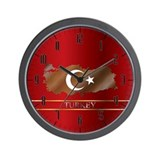 Turkey Map and Turkish Flag Wall Clock