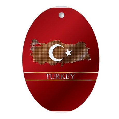 Turkey Map and Turkish Flag Ornament (Oval)