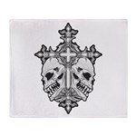 Gothic Cross with Skulls Throw Blanket