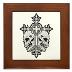 Gothic Cross with Skulls Framed Tile