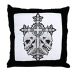 Gothic Cross with Skulls Throw Pillow