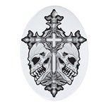 Gothic Cross with Skulls Ornament (Oval)