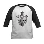 Gothic Cross with Skulls Kids Baseball Jersey