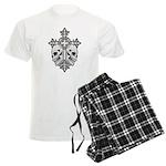 Gothic Cross with Skulls Men's Light Pajamas
