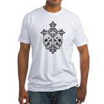 Gothic Cross with Skulls Fitted T-Shirt