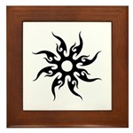 Tribal Sun (Black) Framed Tile