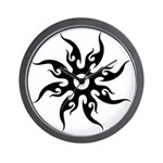 Tribal Sun (Black) Wall Clock