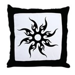 Tribal Sun (Black) Throw Pillow