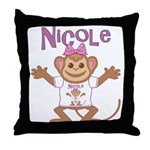 Little Monkey Nicole Throw Pillow