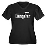Gangster Women's Plus Size V-Neck Dark T-Shirt