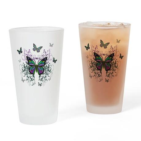 MultiColored Butterflies Drinking Glass