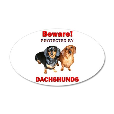 Protected By Dachshunds 38.5 x 24.5 Oval Wall Peel