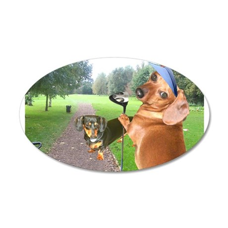 Golf Dogs 38.5 x 24.5 Oval Wall Peel