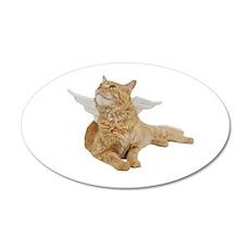 Orange Angel Cat 38.5 x 24.5 Oval Wall Peel