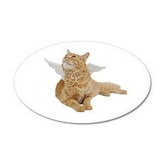Orange Angel Cat 22x14 Oval Wall Peel