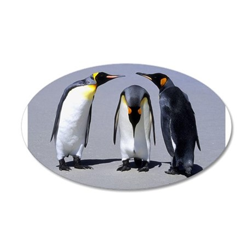 Three Penguins 38.5 x 24.5 Oval Wall Peel