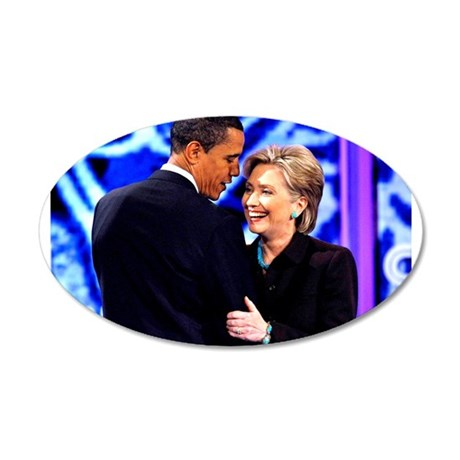 Obama & Clinton 38.5 x 24.5 Oval Wall Peel
